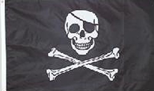 Embroidered Pirate - Jolly Roger Pirate Embroidered Nylon 3 x 5 Ft Flag