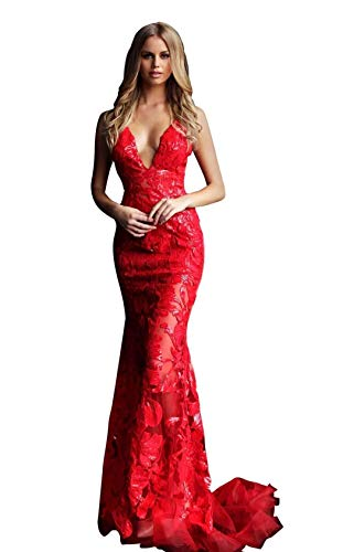 Jovani 60283 Sequined Deep V-Neck Trumpet Dress in ()