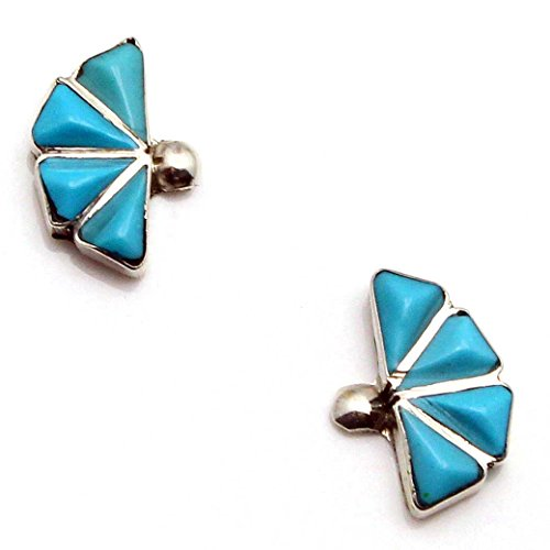 - Zuni Turquoise Channel Inlaid Earrings by Quentawki | 1/2