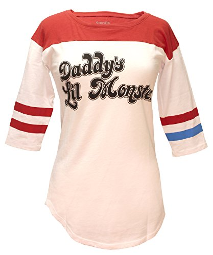 Bioworld Suicide Squad Harley Quinn Daddy's Lil Monster Raglan T-Shirt (Small) White -