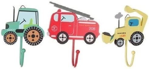 Tractor, Digger & Fire Engine Toddler Coat Hooks!