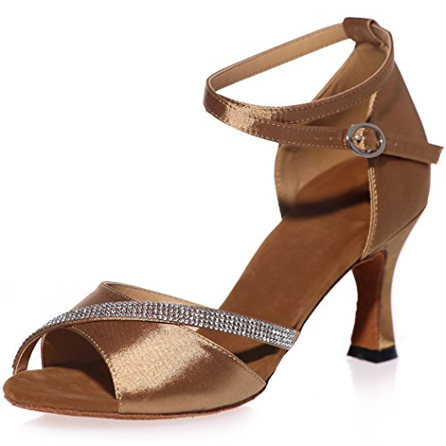 Sarahbridal Bridal Cross Strap With Glitter Beads Wedding Shoes Peep Toe Evening Prom High Heel Satin Sandals For Women Size SZXF8349 Brown abRz0440E