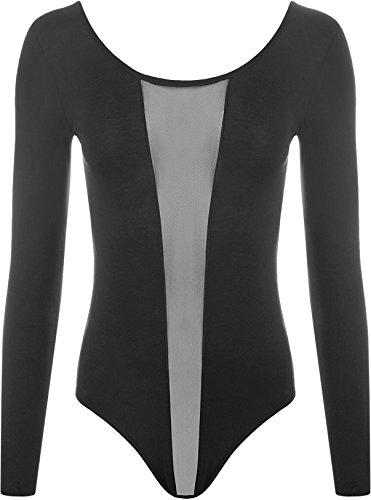 WearAll Women's Mesh Bodysuit Ladies Long Sleeve Scoop Low Back Leotard Top - Black - US 4-6 (UK 8-10) (Scoop Back Leotard)