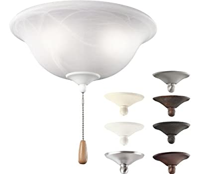 Kichler Lighting 338506MUL All-In-One 3LT Ceiling Fan Light Kit, White Alabaster Swirl Glass Shade
