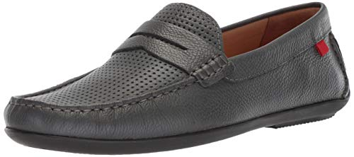 Marc Joseph New York Mens Leather Union Street Driver Driving Style Loafer, Grey Grainy, 10.5 D(M) US