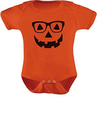 Cute Little Geeky Pumpkin - Halloween Jack O' Lantern Baby Bodysuit 24M -
