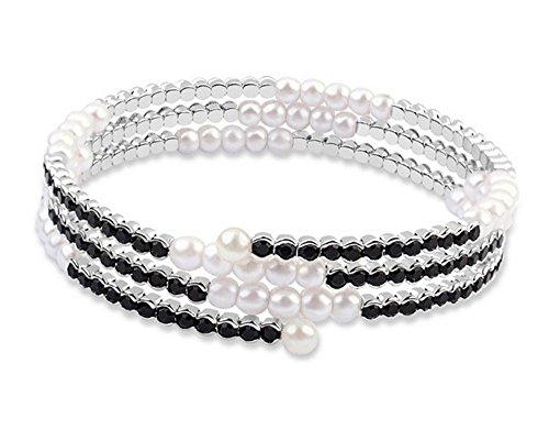 Simulated Pearl & Crystal Open Cuff Bangle Bangle Wrap Bracelet for Wedding Bridal-BGW149 by Dazzle flash