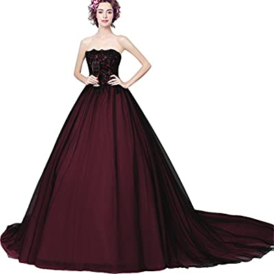 Kivary Gothic Tulle and Satin Long A Line Formal Prom Evening Dress Wedding Gowns