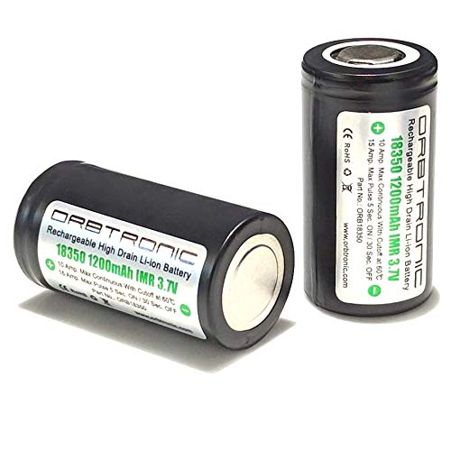 ORBTRONIC 18350 High Performance 15A-10A 1200mAh Battery 3.7V High Drain IMR LiMn Rechargeable Flat Top (Two Batteries) (Best High Drain 18650 Battery)