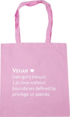 HippoWarehouse Vegan Definition [vee-gun] (noun) 1. To love without boundaries defined by privilege or species Tote Shopping Gym Beach Bag 42cm x38cm, 10 litres Classic Pink