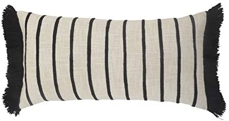 Lr Home Stiped Ivory And Black Fringe Pillow 28 X12 Home Kitchen
