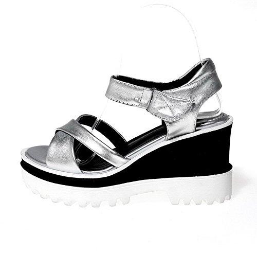 AgooLar Women's Open Toe Hook And Loop Pu Solid High Heels Sandals Silver NCqQAWKmu