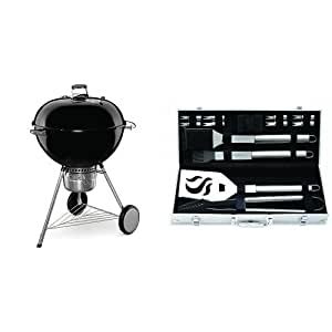 Weber 16401001 Original Kettle Premium Charcoal Grill, 26-Inch, Black with Cuisinart Grilling Set