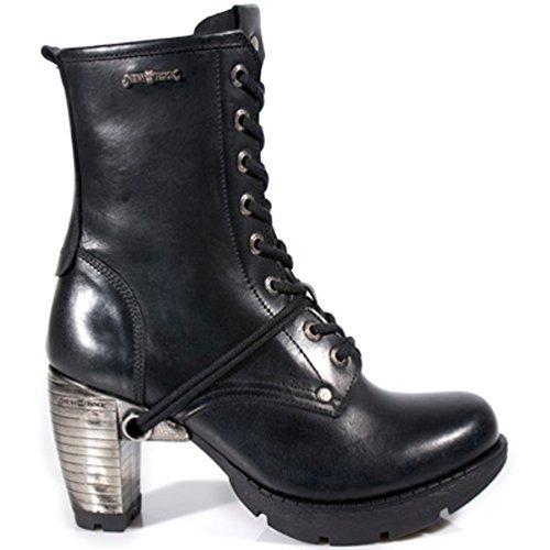 NEWROCK New Rock Stiefel Style M.TR001 S1 Schwarz Damen Stahl Absätze