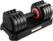 Funcode Adjustable Dumbbell 44 or 88 Lb, Multiweight Options, Anti-Slip Handle, All-Purpose, Home, Gym, Office