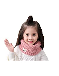 1PCS Kids Toddler Skin-friendly Soft Thick Knitted Neck Warm Scarf Simple and Fachion Neck Wrap Scarves Suitable For 2-10 Years Old Girls(Pink)