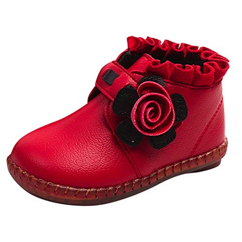 Little Kids Winter Autumn Boots,Jchen(TM) Baby Kids Little Boys Girls Floral Martin Sneaker Boots Children Casual Shoes for 1-4 Years Old (7.5 M US Toddler, Red)]()