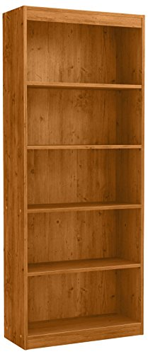 Rustic Pine Bookcase - South Shore 5-Shelf Storage Bookcase, Country Pine