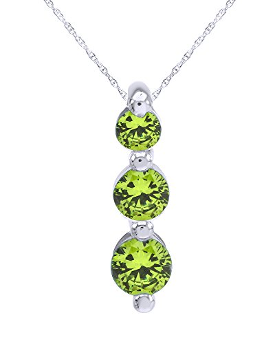Wishrocks Round Cut Three Stone Journey Pendant Necklace in 14K White Gold Over Sterling Silver (Round Peridot Pendant Cut)