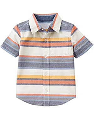 Baby Toddler Boys' Blueorg Stripe Woven Top!