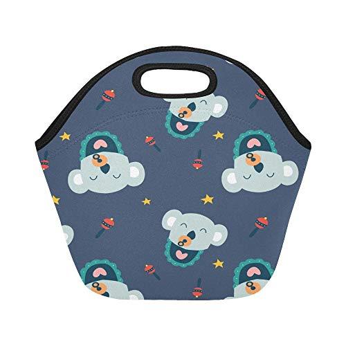 Insulated Neoprene Lunch Bag Cute Koala Cartoon Design Large