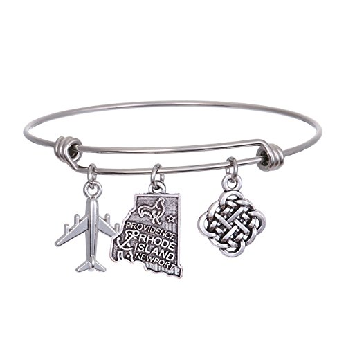 JJTZX State Bangle U.S. Map Charm Expandable Travel Bracelet Long Distance Relationship Gift Best Friends Bracelet (Rhode Island)