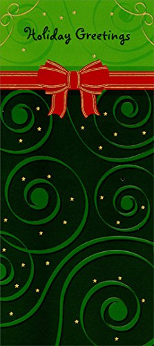 Red Ribbon on Green Holiday Greetings - Package of 8 Designer Greetings Christmas Money / Gift Card - Cards Gift Designer