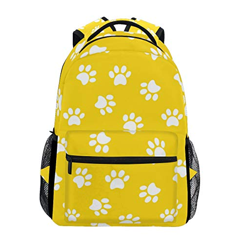Multi Colored Paw Prints - School Backpack Paw Print Cute Bookbag Daypack