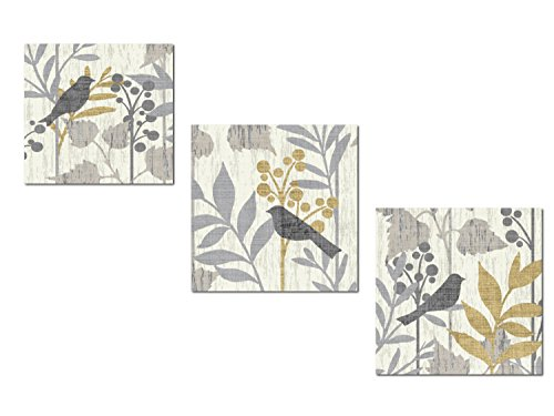 Gango Home Décor Beautiful Grey, Cream and Yellow Leaf and Bird Print Set by Wild Apple Portfolio; Three 12x12in Paper Poster Prints