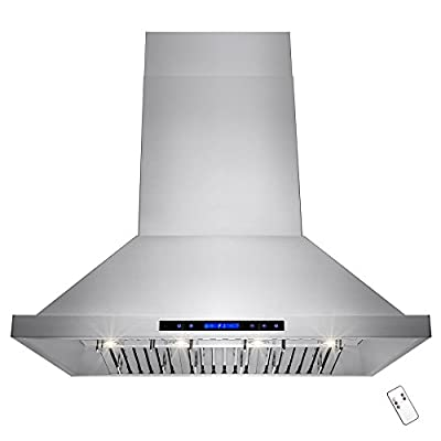 """AKDY® 42"""" Stainless Steel Island Mount Range Hood Touch Screen Display Baffle Filter Ductless Vent"""