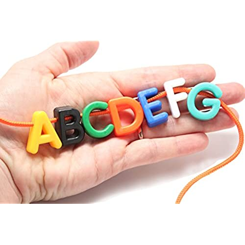 Fine motor activities amazon uppercase alphabet lacing beads busy bag perfect fine motor learning activity for toddlers and preschoolers sort by shape and color large beads fandeluxe Images