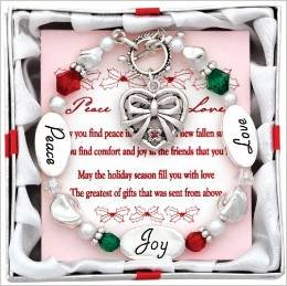 (2) Christmas Holidays Charm Bracelets ~ Expressively Yours ~ PEACE LOVE JOY ~ TWO Adorable BracleletS with Nice Holiday Charms ~ Gift Favor Holiday Spirit Accessory Secret Santa ~ Grab Bag ~ Sister Wife BFF Aunt Daughter Granddaughter ~ New by DM