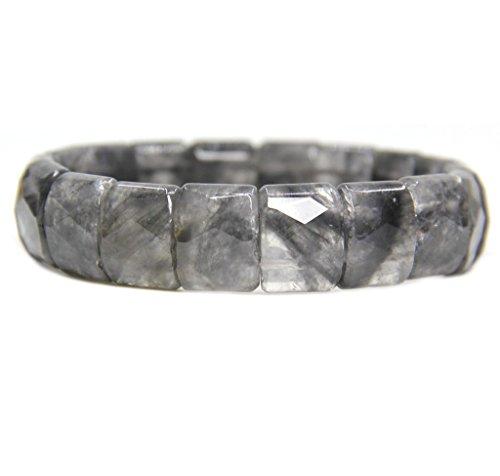 Amandastone Natural Gray Cloud Quartz Genuine Semi Precious Gemstone 15mm Square Grain Faceted Beaded Stretchable Bracelet 7
