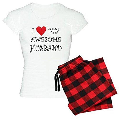 CafePress I Love My Awesome Husband Pajamas Womens Novelty Cotton Pajama Set, Comfortable PJ Sleepwear