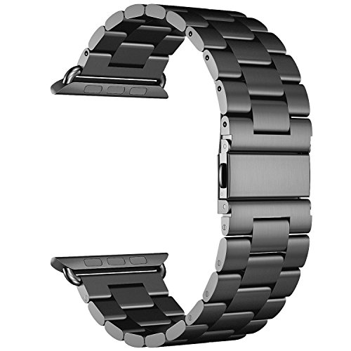 VONTER Band Compatible for Apple Watch - Stainless Steel Metal Clasp Buckle Wrist Strap Smart Watch Band, Replacement Band for iWatch Series 4 40mm Series 3 38mm Series 1/2, Sport, Edition