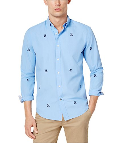 Tommy Hilfiger Mens Johnson Crest Critter Button Up Shirt, Blue, X-Large