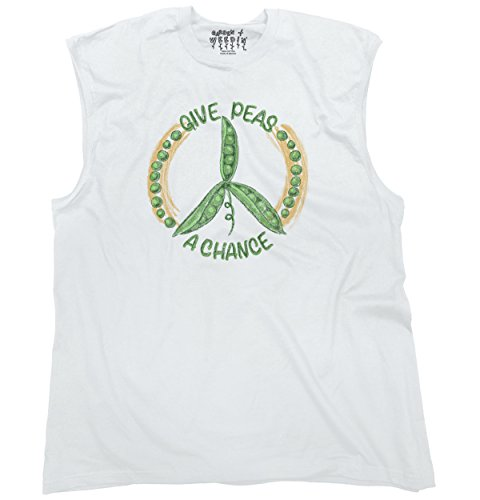 Chance White T-shirt (Brisco Brands Give Peas A Chance Cool Shirt | Home Gardening Gift Idea Cute Sleeveless Tee)