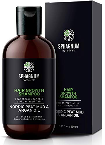 Argan Oil Hair Loss Shampoo - 100% Natural Sulfate Free Treatment with Effective Peat Mud for Thin and Damaged Hair. No SLS/Parabens. Powerful Organic DHT Blocker. Best Shampoo for Hair Growth.