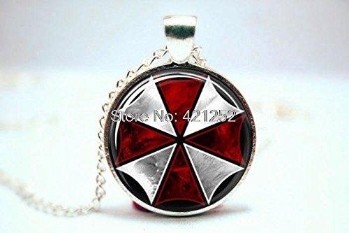 Pretty Lee 2015 Fashion Resident Evil Umbrella Corporation Necklace Glass (Gold Diamond Umbrella)