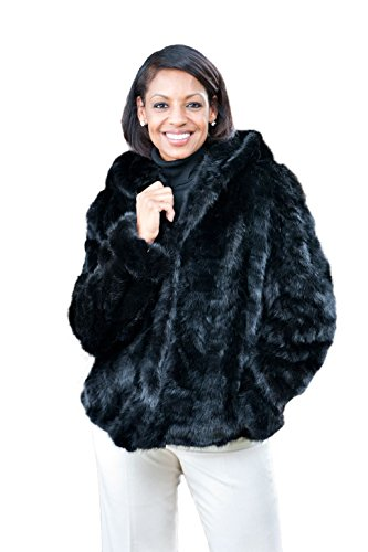 Mink Fur Jacket with Shawl Collar & Bracelet Cuffs(Mahogany,L)