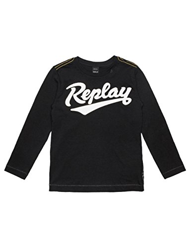 Replay Boy's Black Long-Sleeved T-Shirt With Print in Size 12 Years Black by Replay
