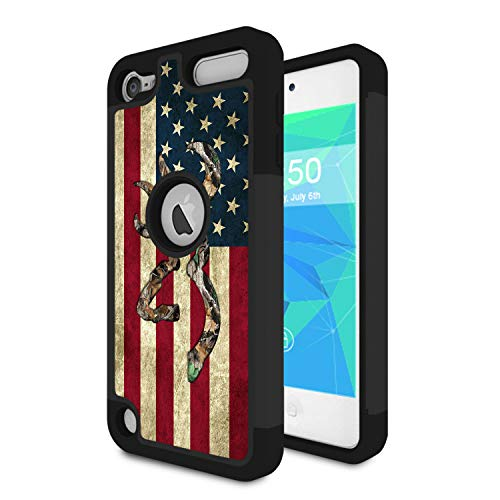 (iPod Touch 6 Case,iPod Touch 5 Case,Spsun Dual Layer Hybrid Hard Protector Cover Anti-Drop TPU Bumper for Apple iPod Touch 6th/5th Generation,Camo American Flag)