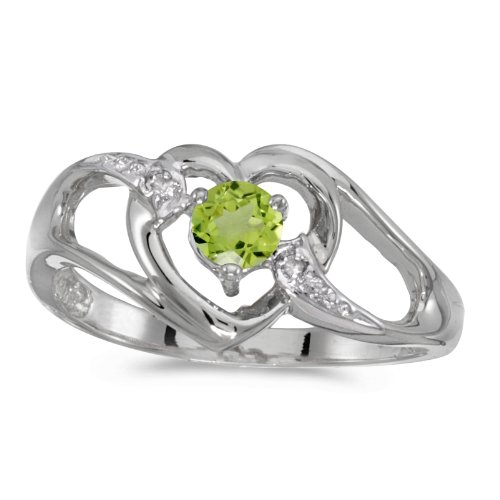 0.25 Carat ctw 10k Gold Round Green Peridot & Diamond Accent Bypass Heart Shaped Promise Fashion Ring - White-gold, Size (0.25 Ct Peridot Ring)
