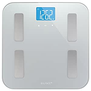 High Accuracy Digital Body Fat Scale by Balance, Accurate Health Metrics, Body Composition & Weight Measurements, Glass Top, with Large Backlit Display