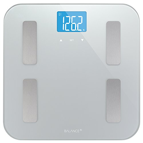 Measure Body Fat Composition (Digital Body Fat Weight Scale by Balance, Accurate Health Metrics, Body Composition & Weight Measurements, Glass Top, with Large Backlit Display)