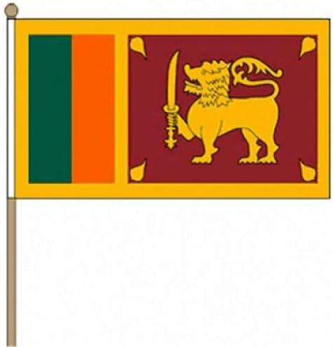 Flagmania® 12 Stück Sri Lanka 30,5 x 45,7 cm große Handwinkel-Flaggen + 59 mm Button Badge