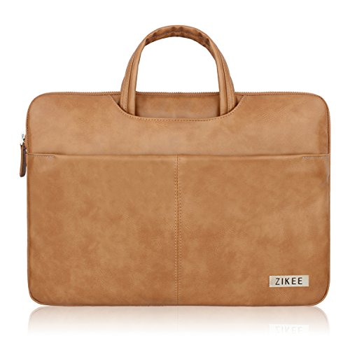 Zikee 15-15.6 Inch Water-Resistant Faux Leather 360° Protective Briefcase Slim Laptop Sleeve (Leather Laptop Carrying Cases)
