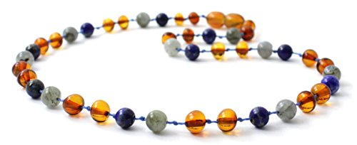 BoutiqueAmber Baltic Amber Teething Necklace Made with Labradorite and Lapis Lazuli Beads - Size 12.5 inches (Cognac/Labradorite/Lapis Lazuli, 12.5 inches)