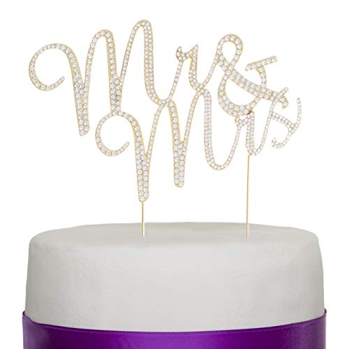 Ella Celebration Mr and Mrs Wedding Cake Topper Gold Rhinestone Monogram Decoration Mr & Mrs (gold) ()