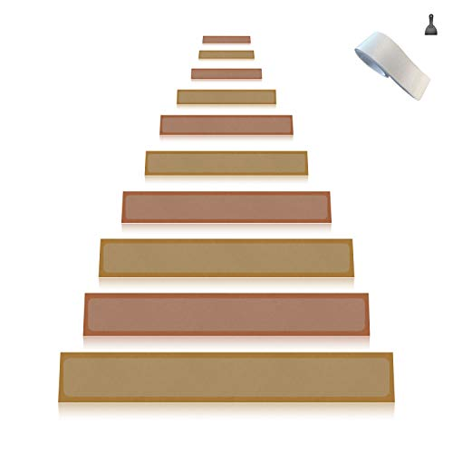 15-Pack(4''x 24''),Non-Slip Clear Adhesive Stair Treads,Translucent Safety Stair Traction Hardwood Treads,PVC-FREE Anti Slip Clear Adhesive Strips,Baby/Elder/Pet Safety,Indoor/Outdoor by Any Beauty (Image #8)